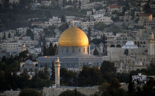 A picture taken on April 14, 2014 at the sunset shows the golden Dome of the Rock in the compound known to Muslims as al-Haram al-Sharif (Noble Sanctuary) and to Jews as the Temple Mount in Jerusalem's old city.