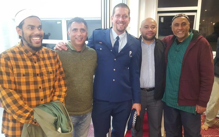 Raarif Rasheed, NZMA president Ikhlaq Kashkari with officer Rob Stanton and Constable Tavea Tavea and Avondale Islamic Centre secretary Omar Fahmy.