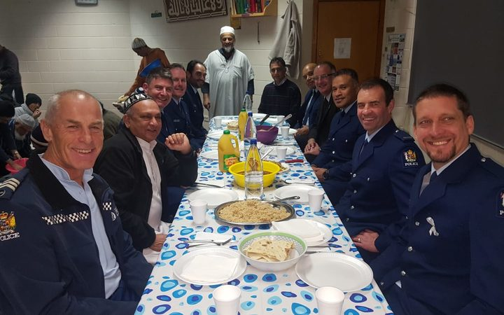 Police officers join in iftar at NZMA's islamic centres this year during Ramadan.