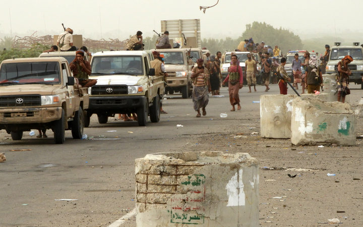 Yemeni pro-government forces arrive in al Durayhimi district about nine kilometres south of Hudaydah international airport