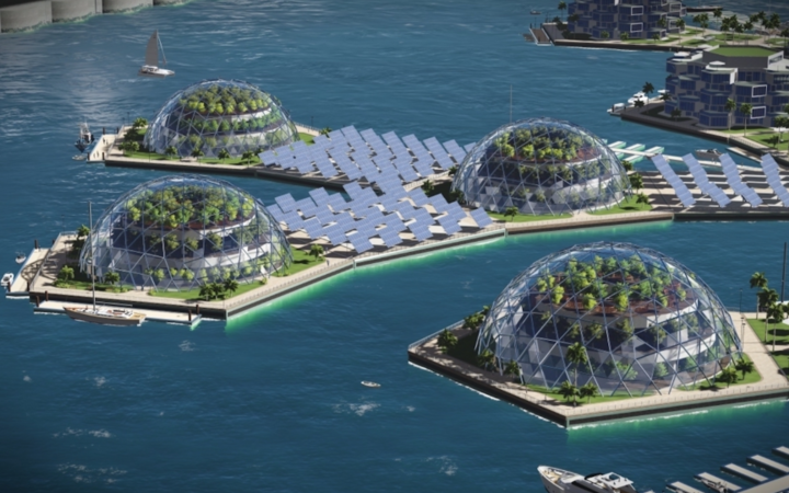 An artists impression of  sustainable domes