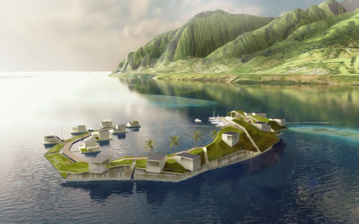 A concept design for the world's first floating town, in French Polynesia