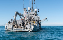 Navy diving support vessel HMNZS Manawanui at the site of the sunken fishing vessel FV Jubilee.