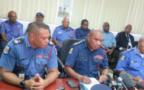 PNG's Acting Police Commissioner Jim Andrews (third from left) during a perss conference on the Southern Highlands police operation, 19 June 2018.