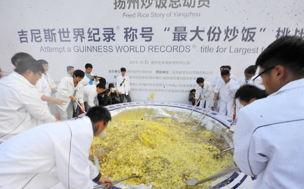 Yangzhou stripped of fried rice record rnz news a group of 300 people teamed up to cook four tonnes of fried rice in yangzhou ccuart Images