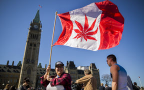 A file photo of a woman waving a flag showing a marijuana leaf, as a group celebrates National Marijuana Day in Ottawa in 2016.