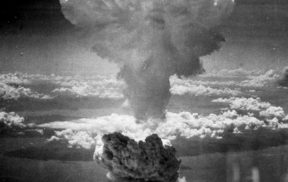 The mushroom cloud of the atomic bombing of the Japanese city of Nagasaki on August 9, 1945 rose some 11 mi (18 km) above the bomb's hypocenter.