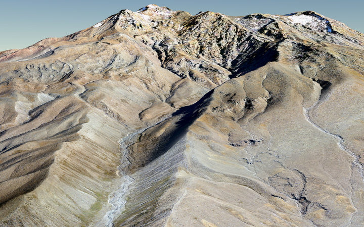 Digital terrain model of Mt Ruapehu, made from aerial photos.
