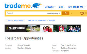 An advertisement from Oranga Tamariki on Trade Me.