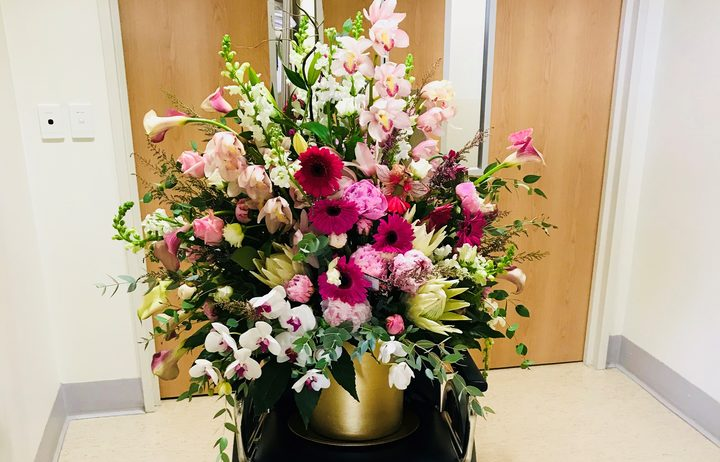The flowers Prime Minister Jacinda Ardern received from the Embassy of the Kingdom of Saudi Arabia.