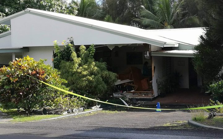 The new-look Cook Islands parliament. The western wall was destroyed overnight when a drunken driver crashed into it.