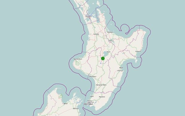 Map showing the epicentre of one of the weaker quakes.