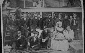 Maud Berridge on the deck of the Walmer Castle in 1869 with the crew.