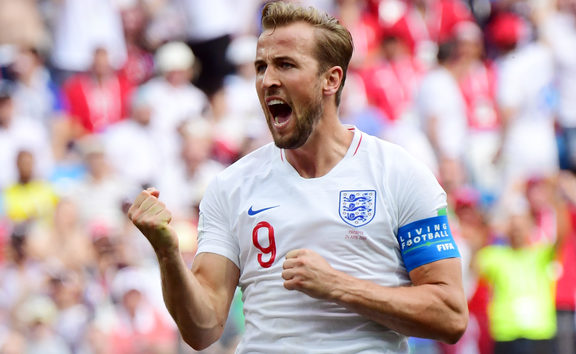 England's forward Harry Kane celebrates after scoring his team's fifth goal during the Russia 2018 World Cup Group G football match between England and Panama at the Nizhny Novgorod Stadium in Nizhny Novgorod on June 24, 2018. / AFP PHOTO / Martin BERNETTI