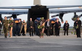 The remains of Defence Force are handed over to families after being returned from Suva and Pago Pago in a ceremony in May.