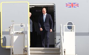 Britain's Prince William arrives at Amman's Marka military airport on 24 June, 2018, for a two-day visit in Jordan.