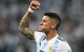 Marcos Rojo reacts after Argentina's  Group D match win against Nigera.