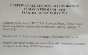 Notice of the curfew.