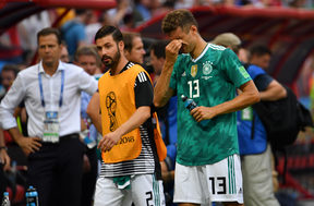 Germany's forward Thomas Mueller (right) at the end of the Group F match against South Korea.
