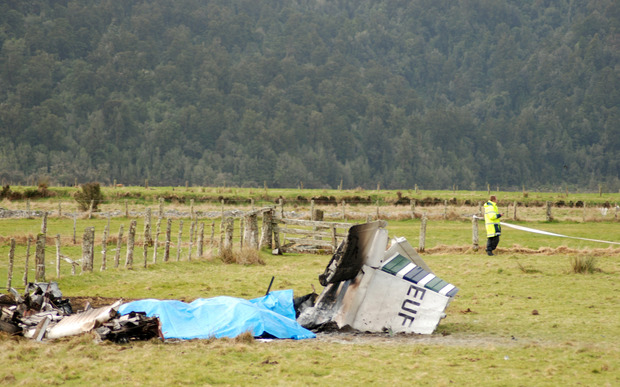 Nine people died when this aircraft carrying a group of skydivers crashed shortly after taking off from the air strip at Fox Glacier, New Zealand, Saturday, Sept. 4, 2010.