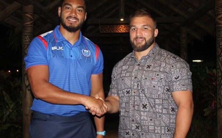Manu Samoa captain Chris Viu, (left), and his German counterpart Julius Nostadt