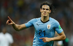 Uruguay's forward Edinson Cavani celebrates after giving his team the lead with his second goal during the Russia 2018 World Cup round of 16 football match between Uruguay and Portugal at the Fisht Stadium in Sochi on June 30, 2018. / AFP PHOTO / Odd ANDERSEN