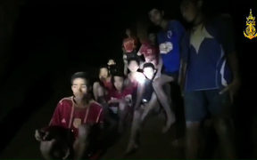 children inside the Tham Luang cave of Khun Nam Nang Non Forest Park in the Mae Sai district of Chiang Rai province.