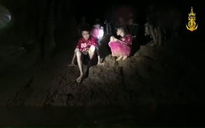 Footage released by The Royal Thai Navy shows the missing children inside the Tham Luang cave.