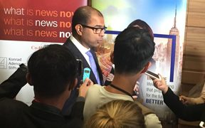 Singapore government communications minister Dr Janil Puthucheary faces the press on the proposed law to fight fake news.