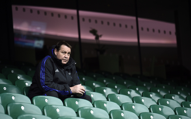 All Blacks coach Steve Hansen observes a kicker's training session on October 30.