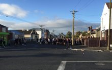 A party on Castle Street, Dunedin, about 8am on Sunday 1 November 2015.