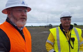 Production manager at Westside's Rimu facility south of Hawera, Ryan Beierle and Rimu, operations manager Tony Ransfield.