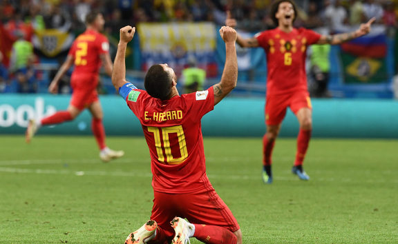 Eden Hazard celebrates beating Brazil