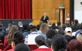 Students in Porirua listen to Damon Salesa talking about New Zealand and the Pacific.