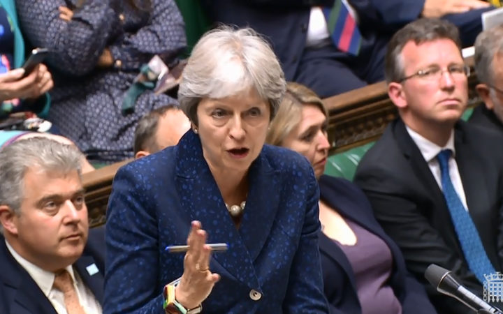 Britain's Prime Minister Theresa May  speaking in the House of Commons on Brexit in London on July 9, 2018.