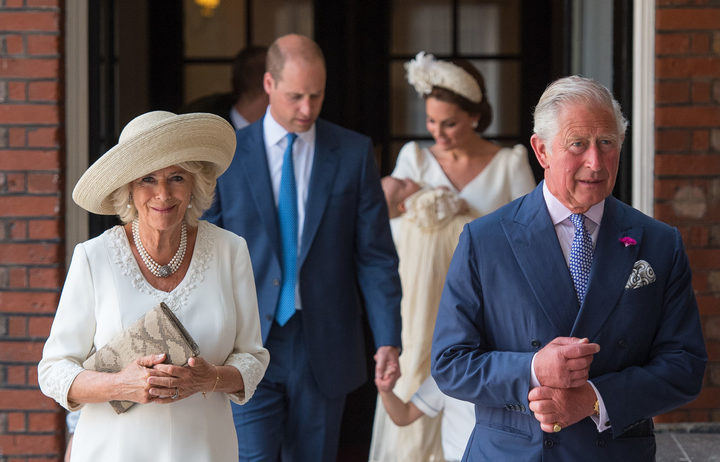 Britain's Prince Charles, Prince of Wales (R) and Britain's Camilla, Duchess of Cornwall arrive for the christening.