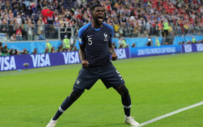 Samuel Umtiti celebrates his winning goal