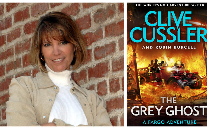 "Author Robin Burcell and her latest book, co-authored with Clive Cussller, ""The Grey Ghost"""
