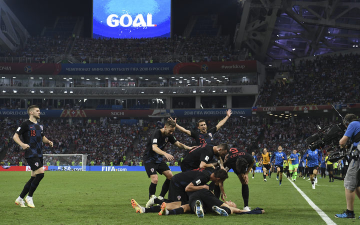 Croatia's players celebrate a goal during the extra time win over Russia in the World Cup quarter-final.
