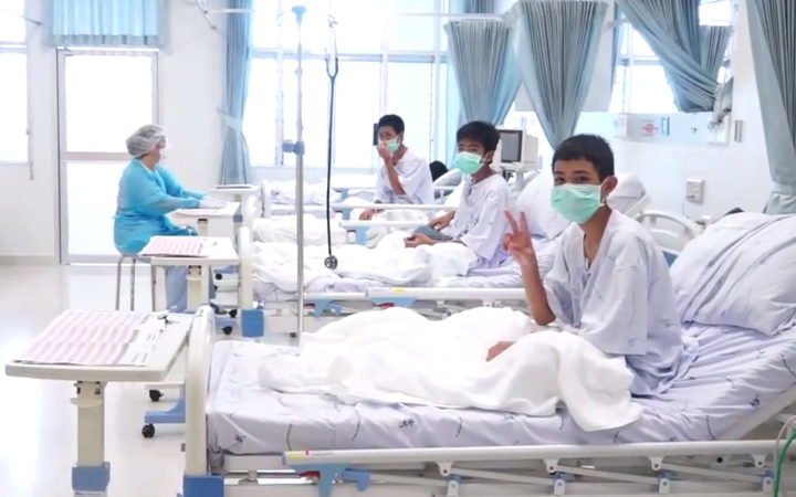 Some of the boys rescued from a Thai cave seen in hospital in Chiang Rai