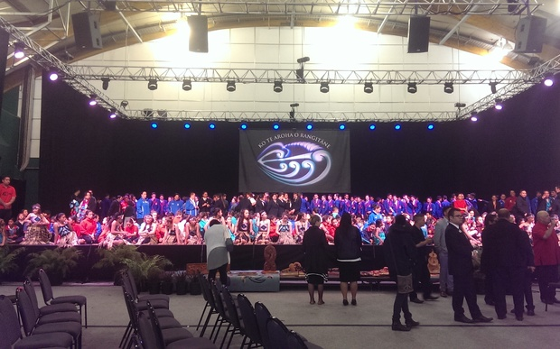 School children gather on stage for the Te Manakura o te motu - Kapa haka Nationals in Palmerston North.