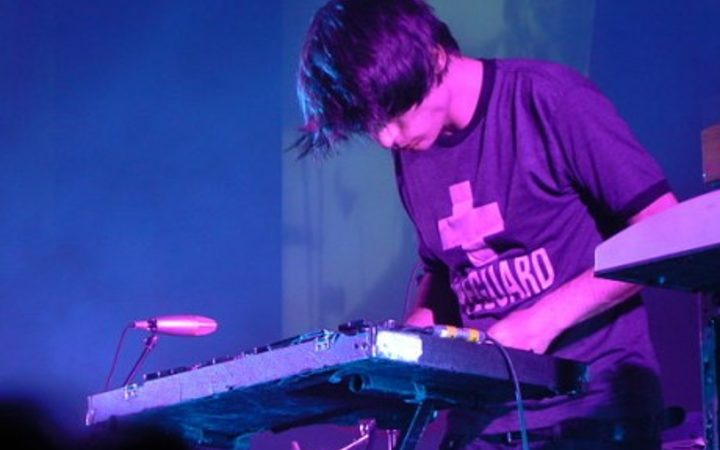Jonny Greenwood playing a glockenspiel with Radiohead at the Heineken Music Hall