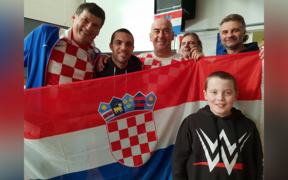 Croatians celebrate their football team's win against England.