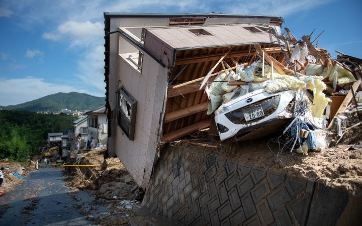 A damaged house in a flood hit area in Kumano, Hiroshima prefecture on July 9, 2018.