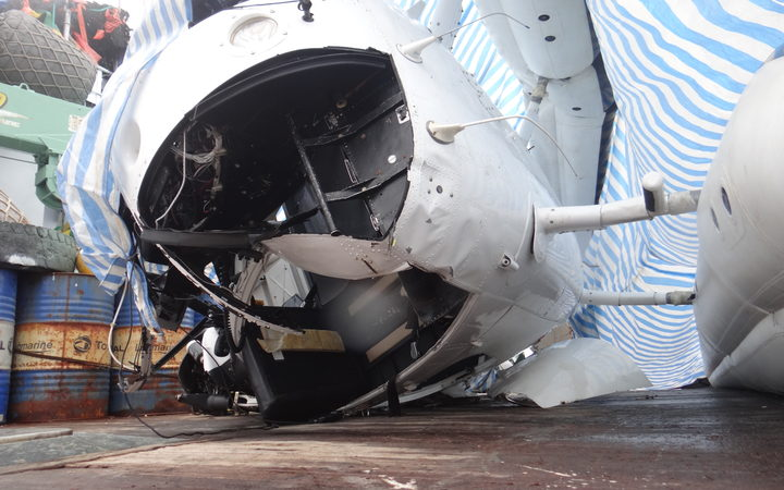 The damaged helicopter cockpit on board the fishing vessel Jih Yu 868 in Majuro a few days after the crash in Nauru waters that killed two.