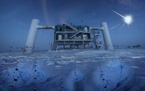 In this artistic composition, based on a real image of the IceCube Lab at the South Pole, a distant source emits neutrinos that are detected below the ice by IceCube sensors, called DOMs.