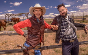 Steve Coogan and Paul Rudd in Ideal Home (2016)