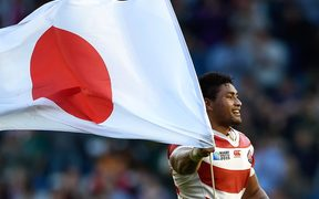 Amanaki Mafi of Japan celebrates at the final whistle of their historic Rugby World Cup win over South Africa.