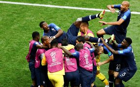 Paul Pogba (6) of France celebrates with his teammates after a goal during the 2018 FIFA World Cup Russia final match between France and Croatia at the Luzhniki Stadium in Moscow, Russia.