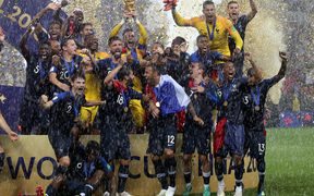 France celebrating their 4-2 win against Croatia in the FIFA World Cup final.
